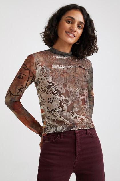 Slim fit arty T-shirt van tule
