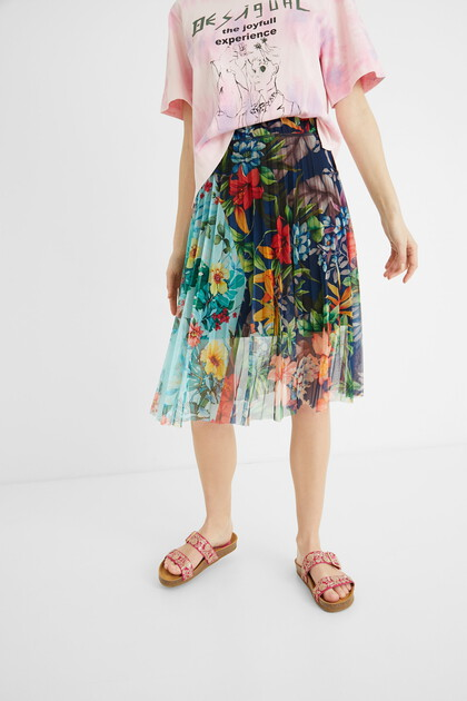 Pleated floral midi-skirt