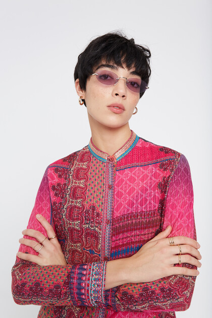 Mandarin collar shirt boho prints