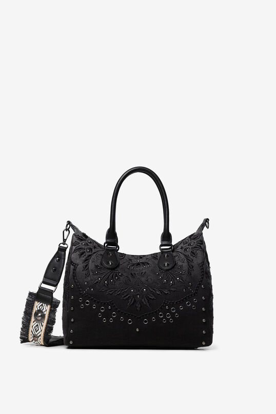 Bag embossed floral motifs and studs | Desigual
