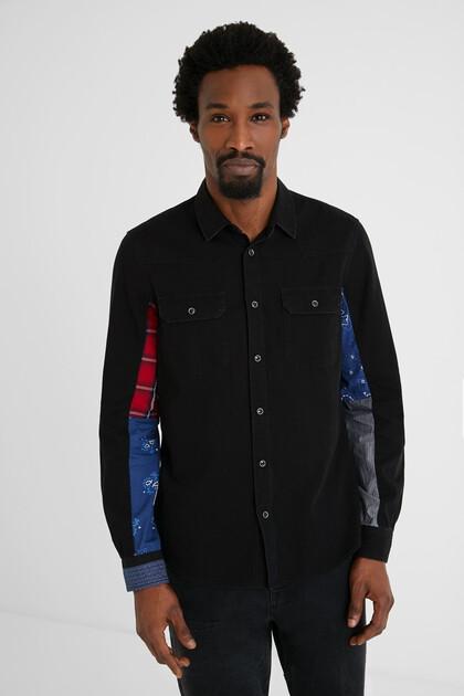 Koszula dżinsowa z patchworkowym nadrukiem