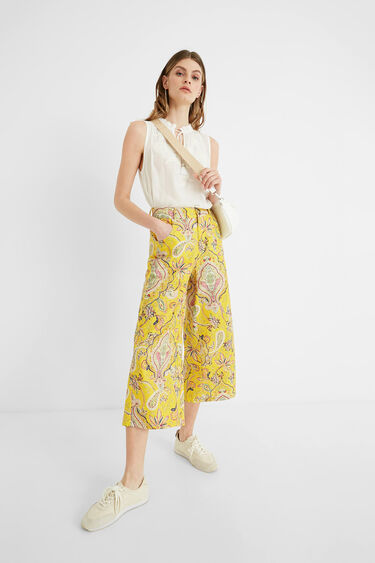 Cropped culotte trousers paisley | Desigual