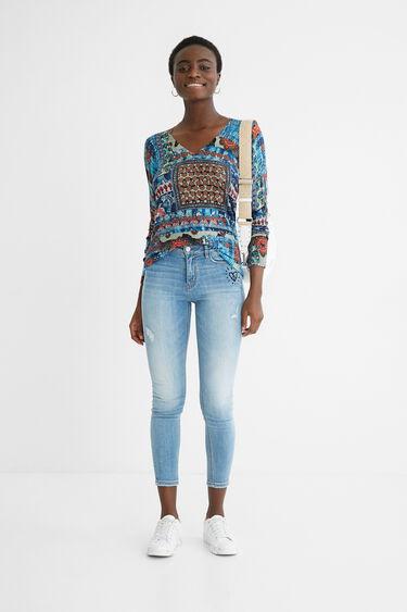 Fine print jumper V-neckline | Desigual
