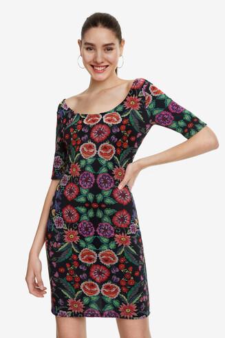 Slimfit jurk gebloemd ottoman Garden
