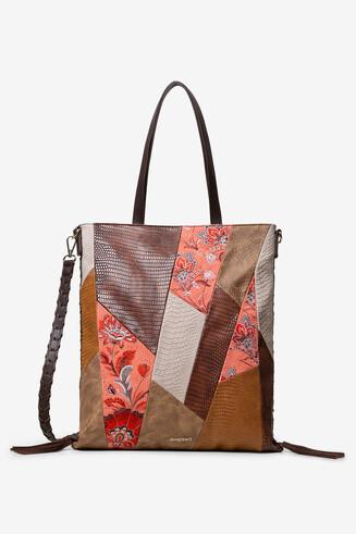 花柄&レプタイルレザー風パッチワーク ショルダーバッグ