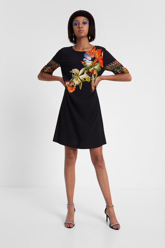 Viscose dress with 3/4 sleeves Designed by M. Christian Lacroix | Desigual