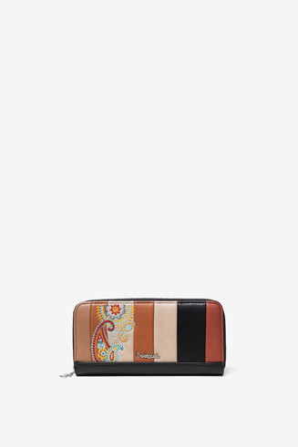 Leather effect wallet of coloured strips and paisley embroidery