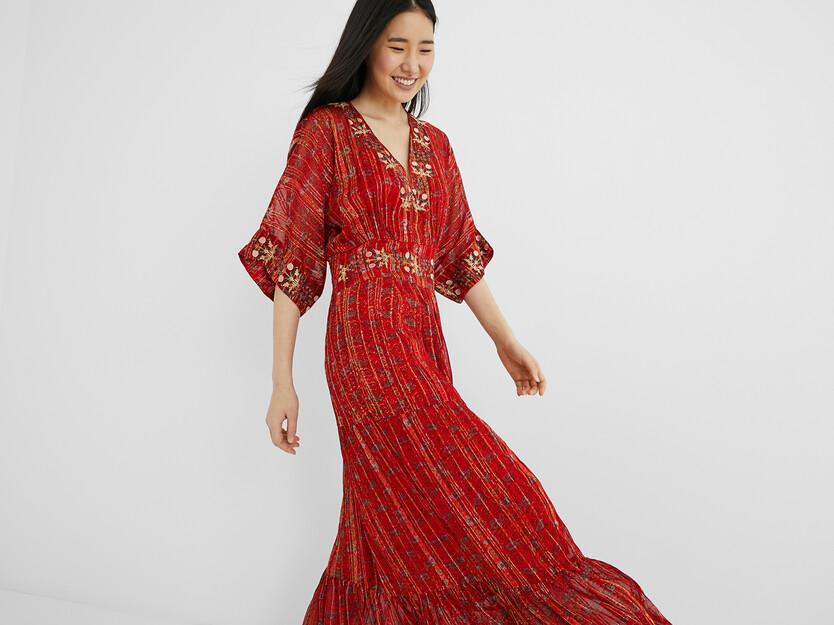 Robe longue ethnique lurex