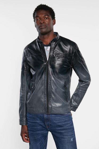 Biker jacket leather effect