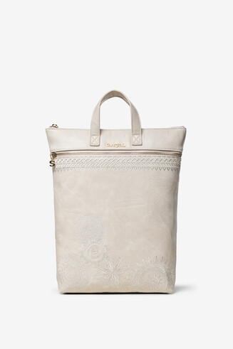White Leather-Effect Backpack Baza
