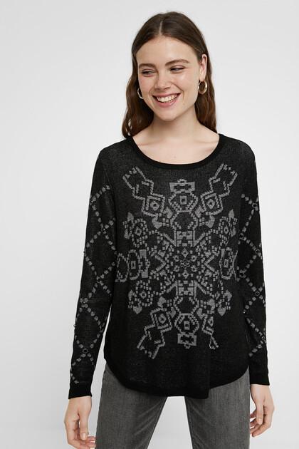 Fijn gebreide trui met print