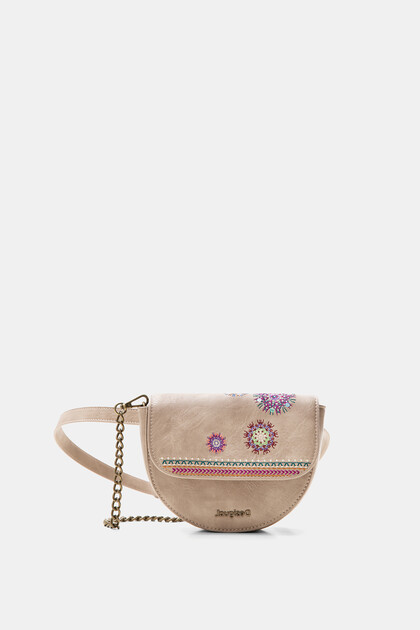 Half-moon embroidered bum bag