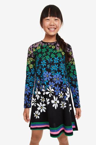 Flared floral dress hem multicolour pinstripes