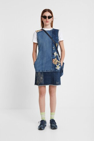 Denim dress flowers