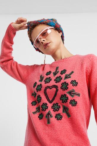 Fine gauge embroidered jumper