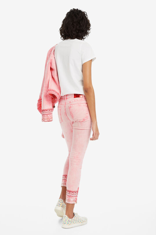 Pink cropped trousers Miami | Desigual