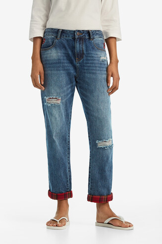 Denim jeans with check patches and floral embroidery