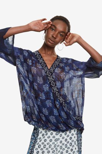 Blue Wrap Blouse Maya