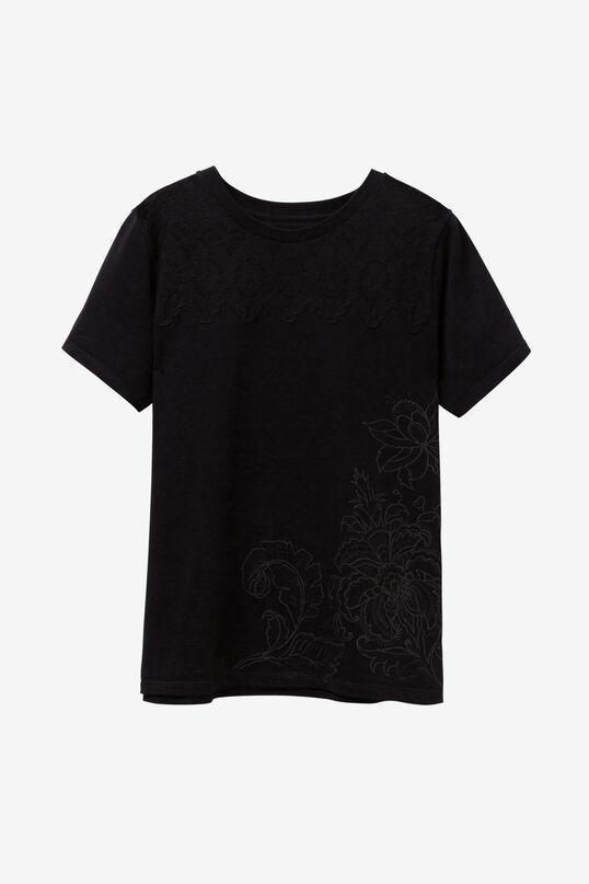 Schwarzes T-Shirt Blumen White Flower   Desigual