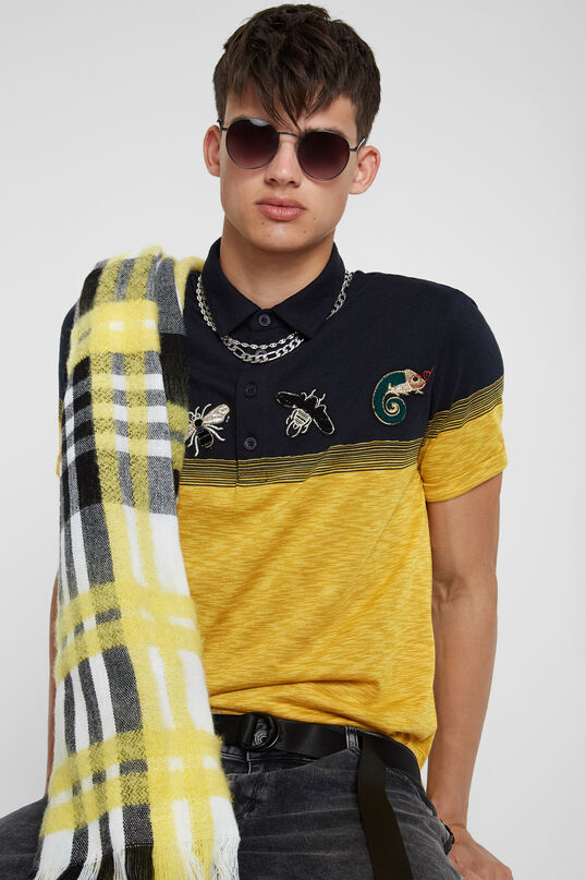 Polo jacquard jaune avec broderie | Desigual