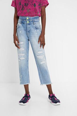 Calças de ganga cintura dupla