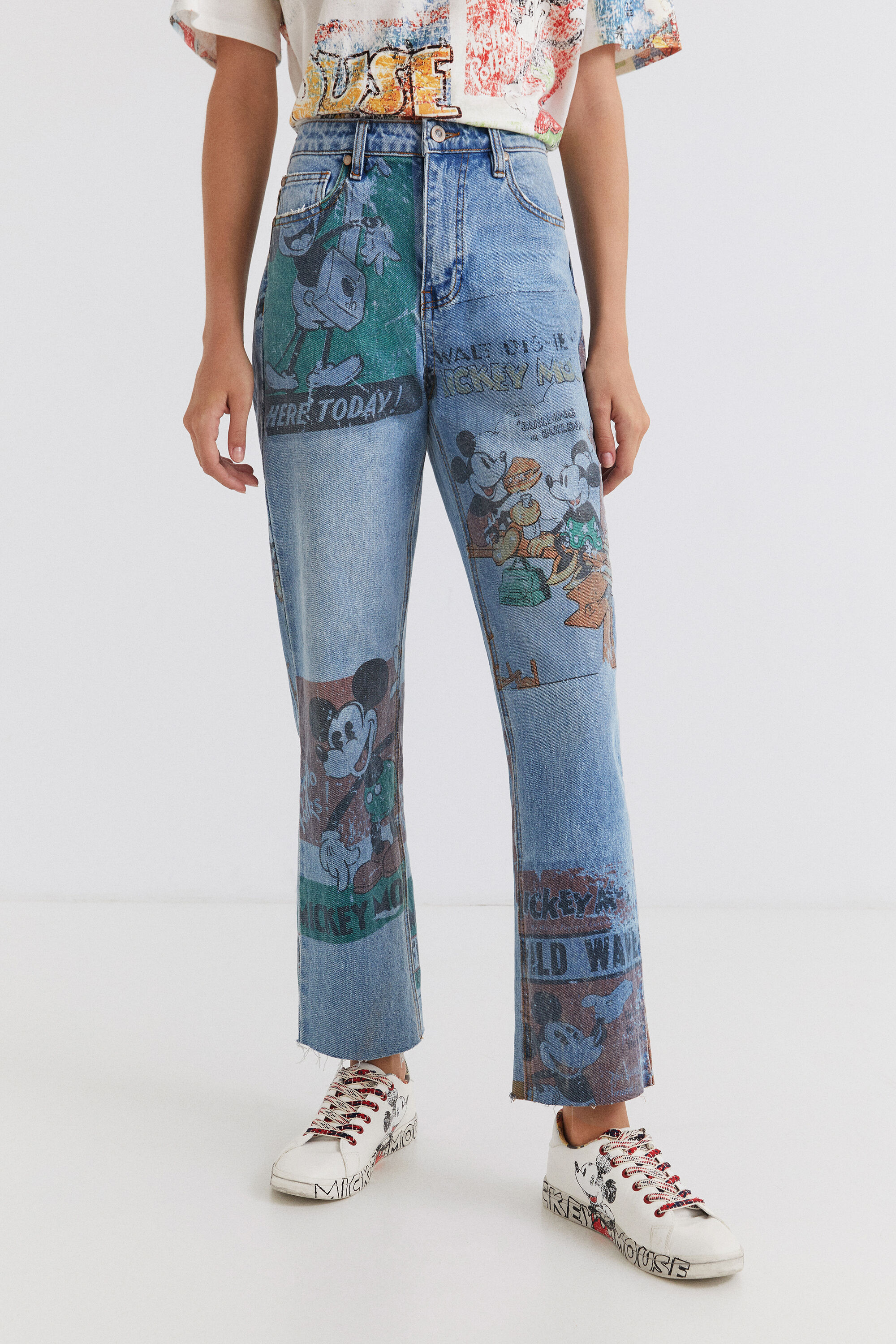Hosen - Straight Cropped Jeans Micky Maus BLUE 40  - Onlineshop Desigual
