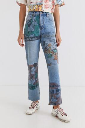 Pantalon en jean straight cropped Mickey Mouse