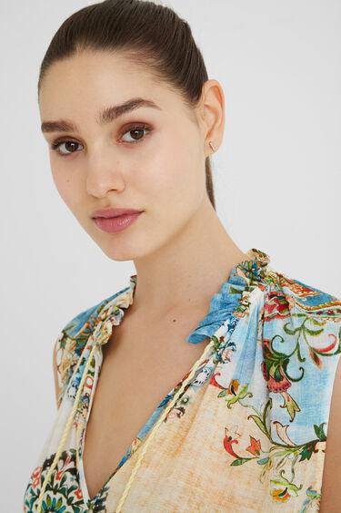 Blusa jacquard cuello pico | Desigual