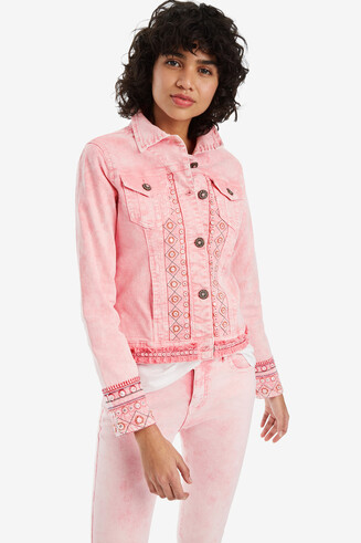 Pink jacket with embroidery Boho