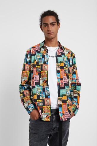 Koszula z popeliny z długim rękawem i nadrukiem pocztówek
