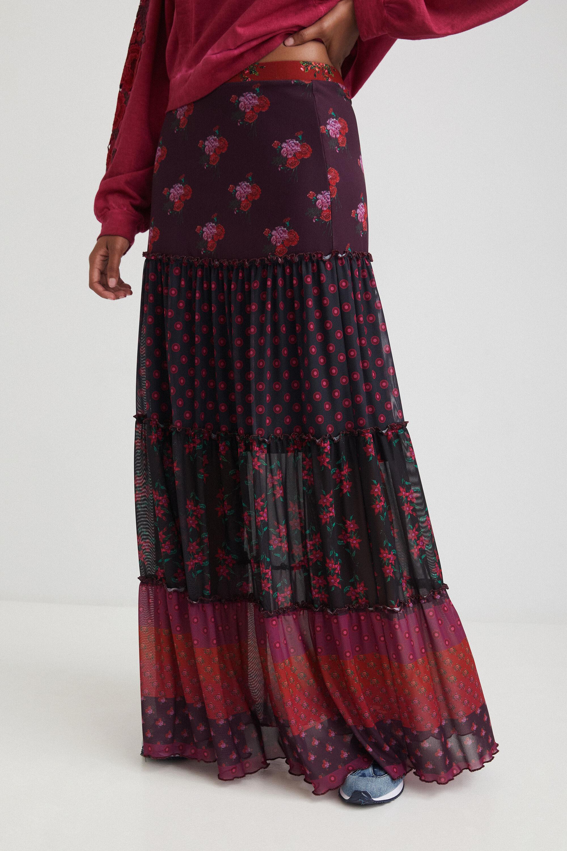 Long skirt boho flounces - RED - L