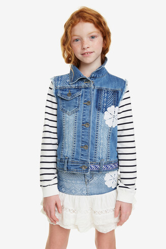 Stripe Sleeve Denim Jacket Biznaga