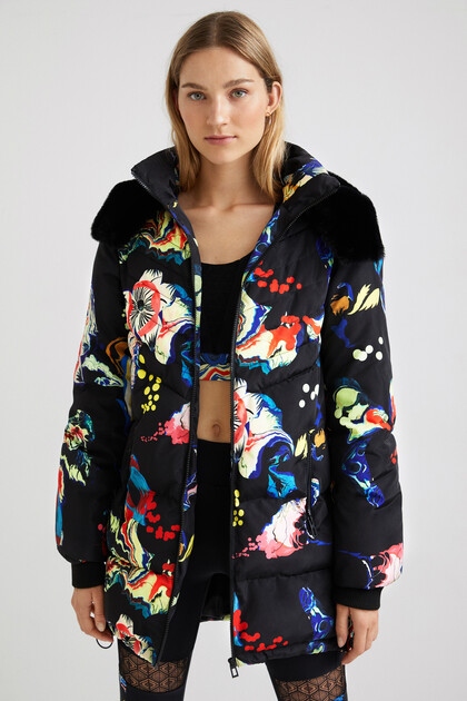 Arty hooded quilted coat