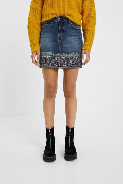 Embroidered denim mini-skirt