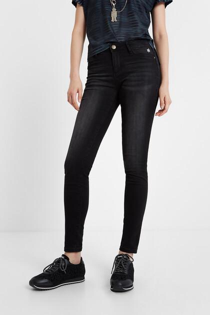 Pantalon en jean fleur skinny