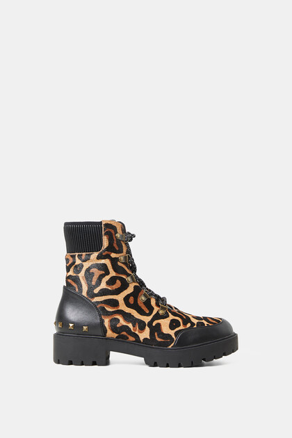 High boot lug sole animal print