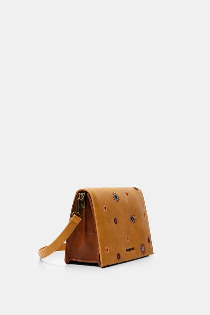 Bicolour sling bag with flap and mandalas