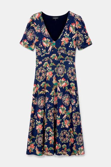 Short sleeve midi floral dress | Desigual