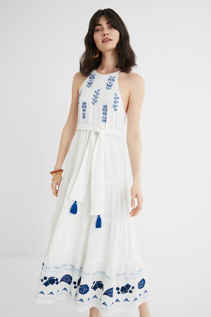 Midi-jurk in haltermodel