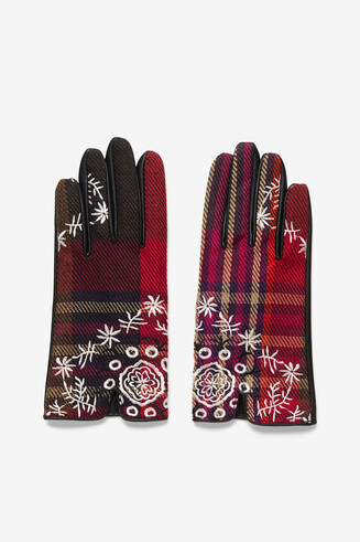 Knit and synthetic leather gloves