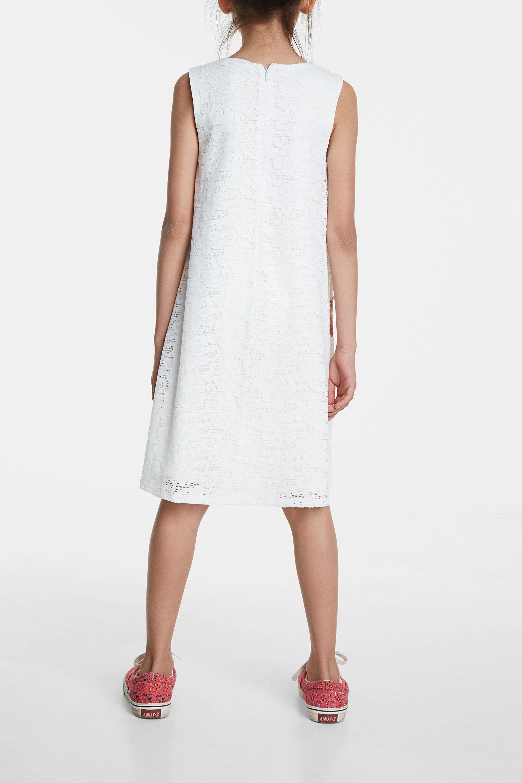 Desigual. Vestido de mujer de encaje blanco. Por encima de