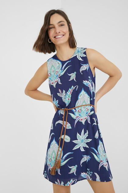 Korte mouwloze loose fit jurk