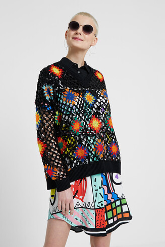 Multicolour crochet jumper