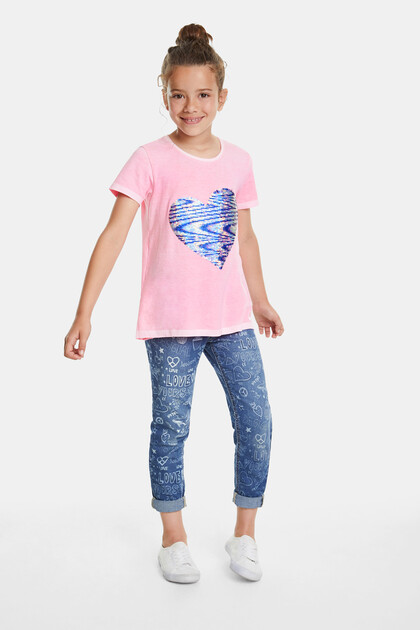 T-shirt reversible sequins heart
