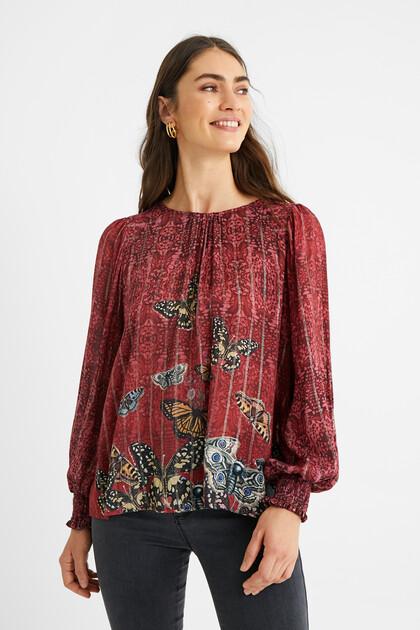 Viskose-Bluse mit Schmetterlingen