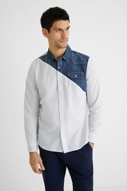 Camicia popeline parte di jeans