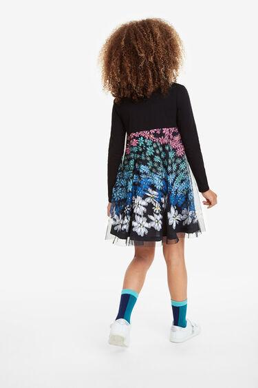 Flared dress multicolour floral gauze layer | Desigual