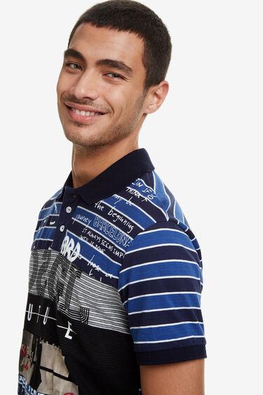 Striped polo shirt 100% cotton positional print | Desigual