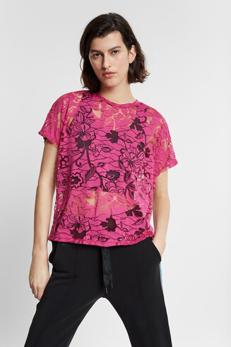 Floral T-shirt in devoré and transparencies