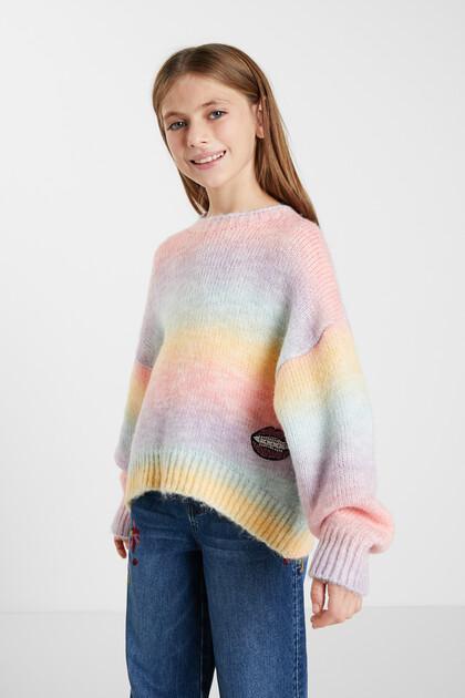 Oversize rainbow knit jumper